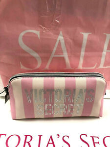 Victoria's Secret Pink Signature Striped Cosmetic Makeup Clutch Bag NWT