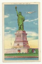 Seaplane Statue of Liberty New York City 1942 Post Card