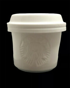 Starbucks White 3 Piece Stackable Set with Lid, Shots Syrup Milk Ceramic