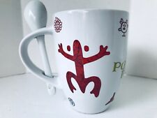 NEW PUERTO RICO  COQUI & SUN TAINO COFFEE MUGS CUPS W SPOON 12oz FINE SOUVENIRS