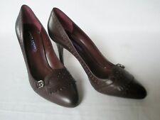 NEW RALPH LAUREN Ladies PEMILLE Burgundy Leather Court Shoes UK 8 EU 41 £479