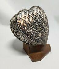 Vintage Ornate Very Heavy Silver Metal Heart Trinket Box
