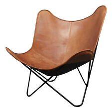 Tan Color Leather Home Butterfly Knock Down Chair
