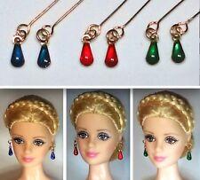 Barbie Dreamz Earrings BLUE RED GREEN Gold FLIP Drops 3 Pr LOT Doll Jewelry