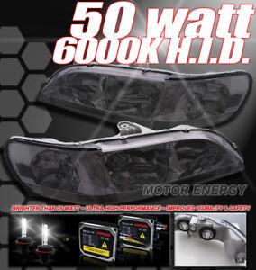 FOR 98-02 HONDA ACCORD SMOKE HEADLIGHT HEADLAMP LAMP W/50W 6000K HID
