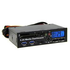 5.25inch Front Panel Media Dashboard USB3.0 Hub Card Reader Black