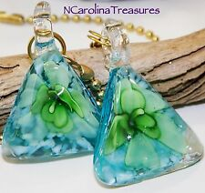GLASS CEILING FAN  LIGHT SWITCH PULL BLUE GREEN FLORAL BURST TRIANGLE LG PR M510