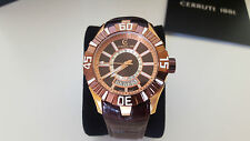CERRUTI 1881 SWISS MADE MENS DESIGNER WATCH ROSE GOLD LEATHER STRAP SMART LUXURY