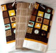 Kitchen Towels Set of 3 Coffee Flower Heart Brown Yellow Beige Decor Linens