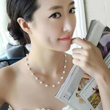 Women's Pearl Jewelry Pendant Chain Pearl Choker Chunky Statement Bib Necklace