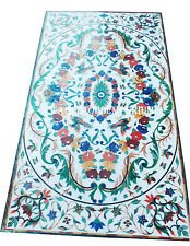 5'x2.5' White Marble Dining Coffee Table Top Multi Stones Inlay Furniture Decor