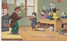 B81332 human attitude at school singing   cat chat front/back image