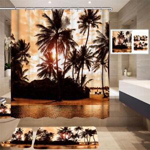 Dusk Bathroom Shower waterproof  Curtain Sunset Toilet Carpets Bath Mat Home Dec