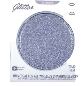 Wireless Charging Pad GLITTER 5W PAD SILVER iPhone Samsung Google USB
