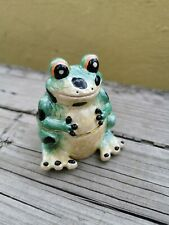 FROG FIGURINE METAL ENAMEL TRINKET BOX HINGED LID