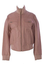 LUCIANO ABITBOUL Women's Pink Funnel Collar Leather Moto Jacket Sz L $599 NEW