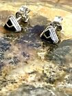 Vintage Zuni Sterling Silver Onyx Channel Inlay Petite Triangle Stud Earrings 1g