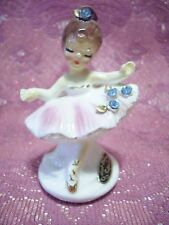 Rare Vtg Josef Ballerina Pink Tutu Girl Blue Stones w Original Stickers Figurine