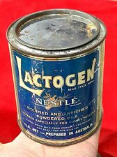 VINTAGE RARE LACTOGEN NESTLE'S POWDERED MILK ADV. LITHO TIN BOX, AUSTRALIA