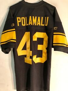 Reebok Authentic NFL Jersey Pittsburgh Steelers Troy Polamalu Blk Throwback 54