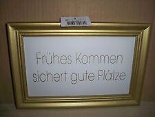 """Goldenes Wandbild mit Holzrahmen""""Frühes Kommen sichert gute Plätze""""Impressionen"""