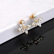 Trendy Women Crystal Rose Gold Silver Stud Earrings Jacket Clips Stud Earring