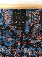 $145 Ella Moss Anthropolgie Black SILK  Floral Kimono flutter sleeve blouse xs