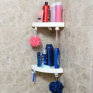 Corner Shower Shelf Bathroom Snap Up Bath Wall Corner Mount Storage Lot of 2