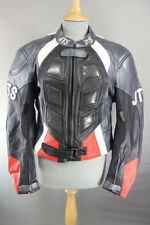 JTS BLACK, SILVER, RED & WHITE LEATHER BIKER JACKET + REMOVABLE CE ARMOUR SIZE16
