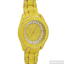 41MM Big Face Iced Out Watch Gold With Canary Stones