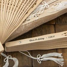 20 un Tela Lisa Hand Held de Bambú Abanico Plegable Bolsillo De Papel Boda Fiesta Sorpresa