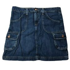 Vtg Old Navy Jean Skirt Womens Sz 8 Dark Blue Pockets