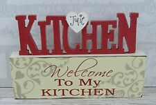 Personalised Plaque Block Welcome To My Kitchen Red Cream Sign 23cm SG1611/C