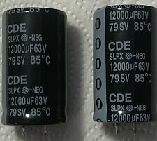 2x 12000uF 63V Radial Snap In Mount Electrolytic Capacitor 85º Cde