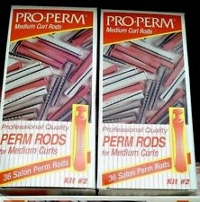 2 Pro-Perm Professional Quality Medium Salon Perm Curl Rods  2 X Box 36=72 rods