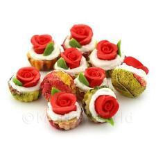 4x Rojo En Miniatura Fondant Cupcakes Rosa con tazas de papel rojo y amarillo