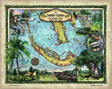 Sanibel Captiva Historic Map Reproduction Artwork Wall Art Print Vintage