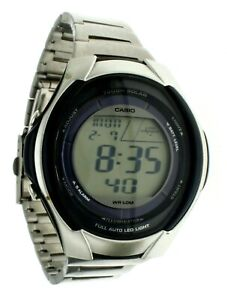 New Vintage Casio Watch WLS21H Digital Touch Solar S Steel Water Resistant