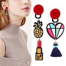 1Pair Asymmetric Acrylic Dangle Earrings Lipstick Heart Colorful Earrings SY#47
