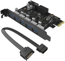ORICO PCI-E 5 Ports USB 3.0 w/ 4 Pin molex & 19 / 20 Pin PCI Express Card Adpter