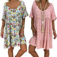 Übergröße Damen Blumen Tunika Kaftan Strandkleid Minikleid Sommerkleid Gr 46 48