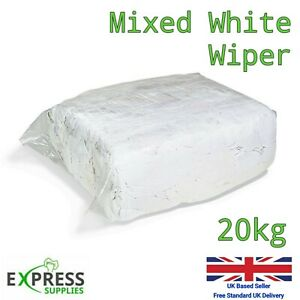 20kg Bag White Cotton Mix Cleaning Rags Wiping Wipers Garage Engineering Cloths