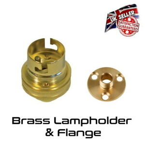 Brass Lamp Holder UN Switched - Bayonet BC Bulb Holder & Flange Plate *UK Stock*