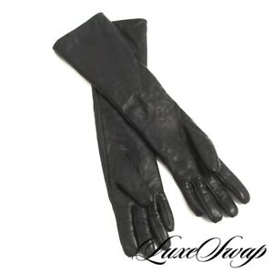 DECADENT Anonymous Black Soft Nappa Leather Plush Lined Elbow Length Gloves L
