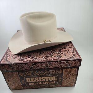 "Vintage Resistol Diamond Horseshoe Cowboy Hat 7 1/2 Buckskin Cattleking 4"""