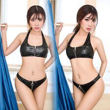 Lady PVC Leather Erotic Vinyl Lingerie Set Zipper Front Strap Bra + Panties