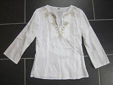 HIRSCH Damen Bluse Tunika weiß V-Ausschnitt Gr. 36 mit 3/4 Ärmel - sehr gepflegt