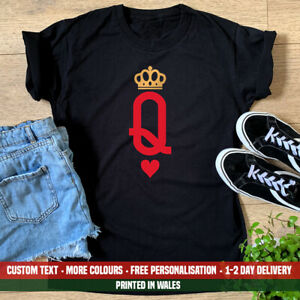 Ladies Queen Playing Card  T-shirt Cards Poker Las Vegas Hen Do Party Gift Top