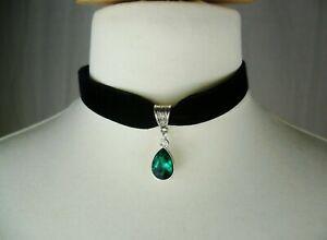 Black Velvet & Green Rhinestone Teardrop Choker Gothic Necklace Wedding