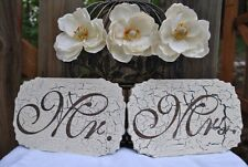 Mr & Mrs Wedding Signs, Crackled & Laser Etched Wedding Decor.